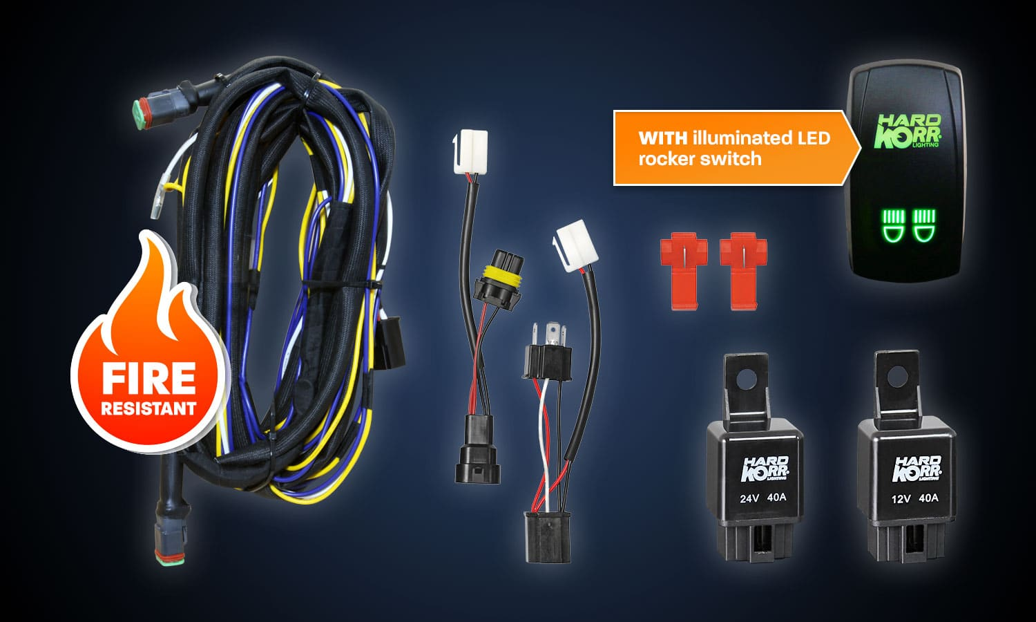 Automotive Off Road Accessories Hard Korr Uk Wiring Harness Kits Kit With Illuminated Rocker Switch