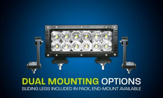 LED light bar dual row 6 inch flood