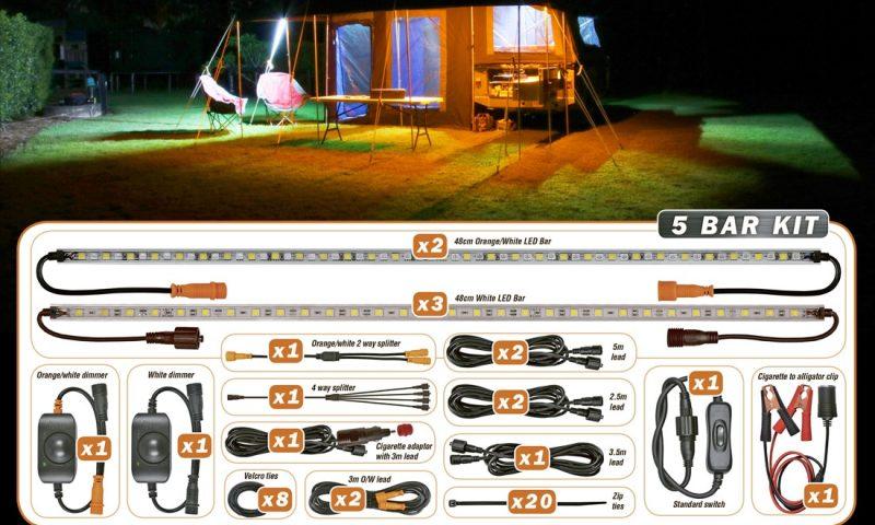 Bug free camping lights hard korr usa 5 bar orangewhite led camping light kit aloadofball Gallery