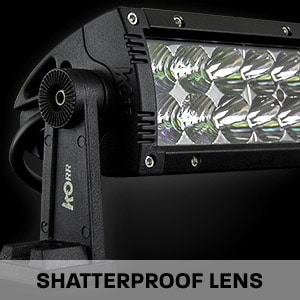 Hard Korr LED driving light bars are made with shatterproof Lexan lenses
